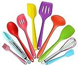 10 Stücke Silikon Küchenutensilien Küchenhelfer-Kochen Zange,Schäler,Spaghettiheber,Silikon...