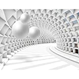 Fototapeten 3D - Kugel Weiß 352 x 250 cm Vlies Wand Tapete Wohnzimmer Schlafzimmer Büro Flur...
