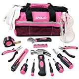 Apollo 23-teiliges Heimwerkzeugset in Pink inklusive Sicherheitsbrille und Handschuhe in einer...