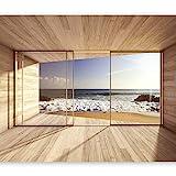 murando Fototapete Meer Fenster 350x256 cm Vlies Tapeten Wandtapete XXL Moderne Wanddeko Design Wand...