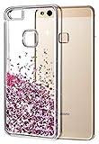 wlooo Huawei P10 Lite Hülle, Glitzer Hülle Mode 3D Bling Schutzhülle Fließend Flüssigkeit...