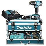 Makita DHP453RFX2 Akku-Schlagbohrschrauber 18 V / 3,0 Ah im Alukoffer + 96tlg. Zubehör-Set