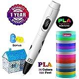 Parner 3d stifte, 3D Stift mit 16 Verschiedenen PLA Farb Ersatzminen, 3D Pen für Kinder Sicher und...