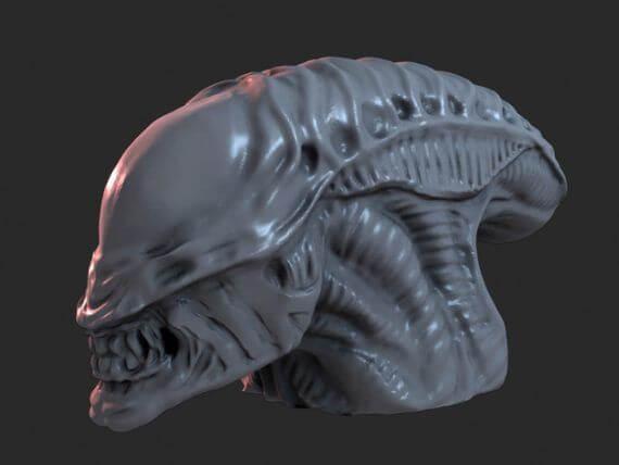 3d-modell alien büste 3d-model alien bust