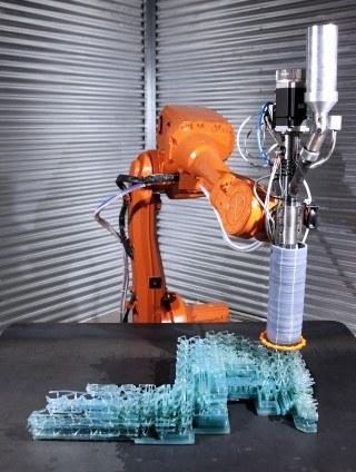Designer Plastikstuhl Von Einem Roboter 3D Gedruckt