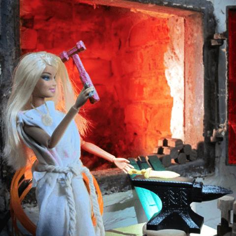 3d-modell barbie schmiedehammer forge hammer 3d model