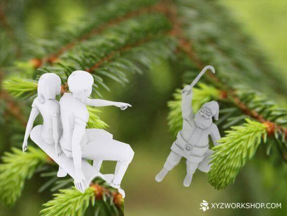 3d-modell christbaumanhänger weihnachtsszene