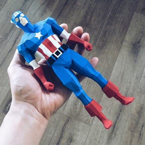 3d-modell low poly captain america