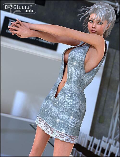 3d-modell open front dress