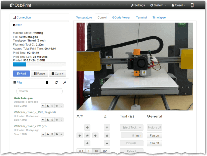 Screenshot Octroprint Webinterface