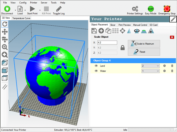 Screenshot Repetier 3D Printing Tool