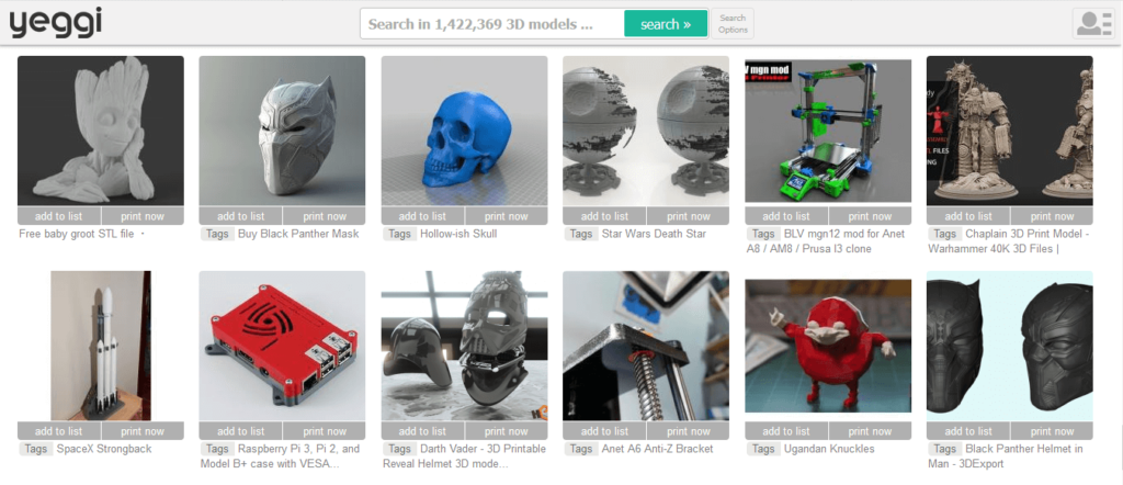 yeggi 3d printing models