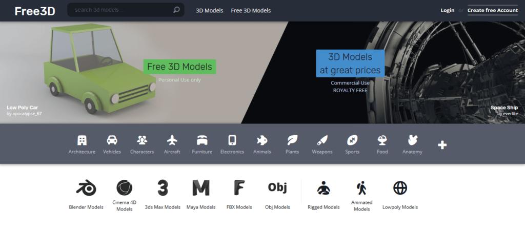 free3d 3d printing models