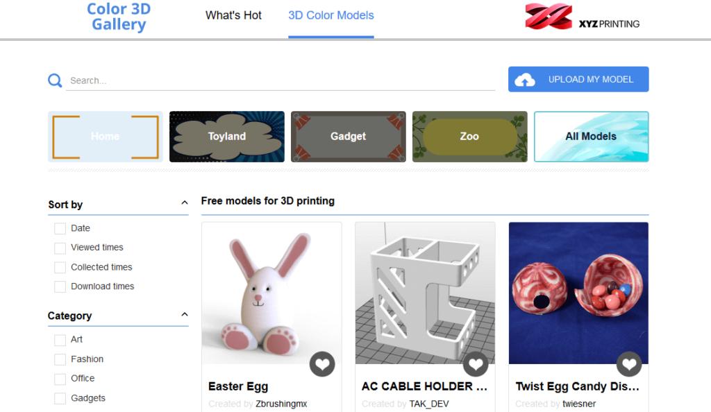 xyzprinting 3d printing models