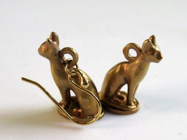 3d modell katzen ohrringe 3d model cat earrings