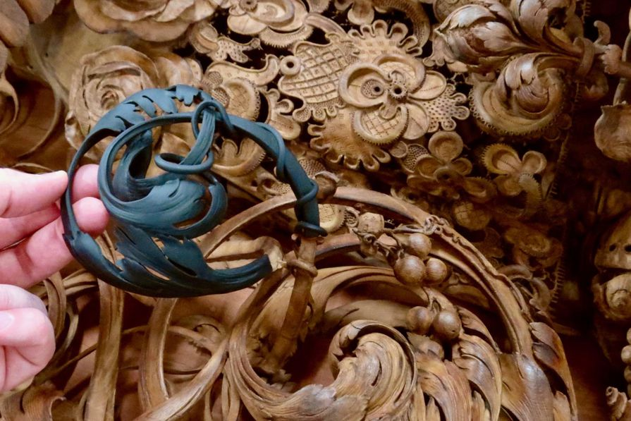 Carved wood 3d printed formlabs