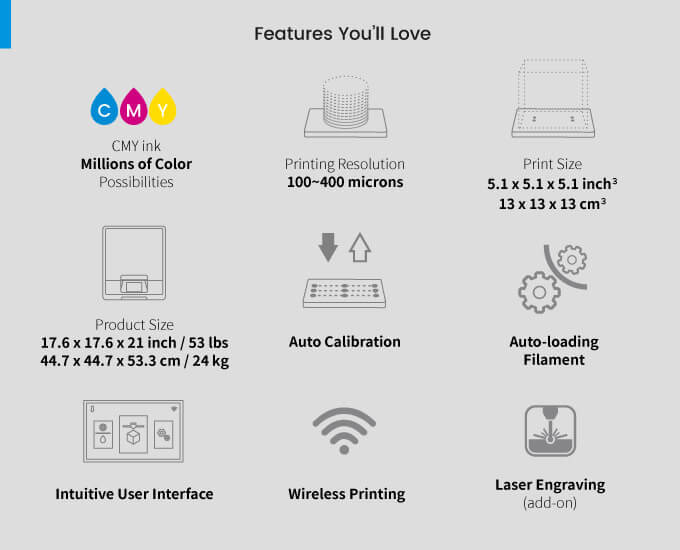 3d-drucker xyz printing da vinci color mini features